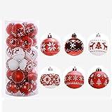 Dekoration Ball Kugel Jamicy® 1 Set /24PC 6cm Weihnachten Deko Anhänger Christbaumkugeln Kunststoff plastik Bälle Für Hausdekoration (Rot)