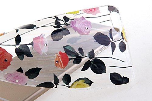 iPhone 6S Case,iPhone 6 Cover, Felfy Apple iPhone 6 / 6S 4.7 inch Rosa weiße Blume Muster Intarsien Shiny Funkeln Diamant Design Ultra Dünne weiche TPU Gel Silikon Transparent Clear Crystal Klar zurüc Multicolor Rose