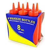 New Star 26283 Plastic Squeeze Bottle, 8-Ounce, Red, Set of 6
