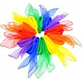 12X Demarkt Bufandas de Danza Pañuelos de Colores de Juegos Bufandas de Banda Rítmica para los niños(multicolor)