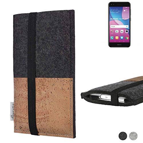 flat.design Handy Hülle Sintra für Huawei Y6 Pro 2017 Dual SIM Handytasche Filz Tasche Schutz Kartenfach Case Natur Kork