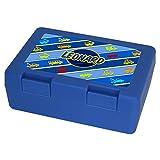 Brotdose mit Namen Leonard und schönem Motiv mit Fahrzeugen für Jungen, blau - Brotbox - Vesperdose - Vesperbox - Brotzeitdose mit Vornamen