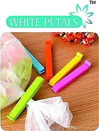 White Petals - Plastic Food Snack Bag Pouch Clip Sealer, Multi-color
