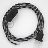 Creative-Cables Zuleitung für Tischleuchten RZ04 Zick-Zack Weiß Schwarz Seideneffekt 1,80 m. Wählen Sie aus DREI Farben bei Schalter und Stecke. - Schwarz