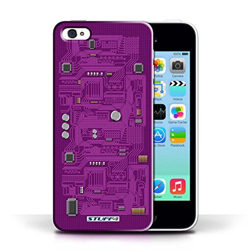 iCHOOSE Print Motif Coque de protection Case / Plastique manchon de telephone Coque pour Apple iPhone 5C / Collection Circuit Board / Vert Pourpre