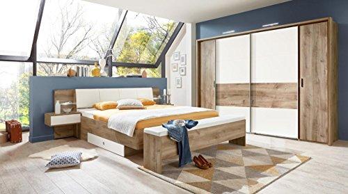 lifestyle4living Schlafzimmer, Schlafzimmermöbel, Set komplett, Komplettset, Schlafzimmereinrichtung, Komplettangebot, Einrichtung, Plankeneiche-Nb, alpinweiß