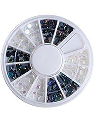 Joyeee 2 Couleurs Carrousel Résine Strass boites Cristal Ongle Manucure Nail Art Décoration(Noir et Blanc)