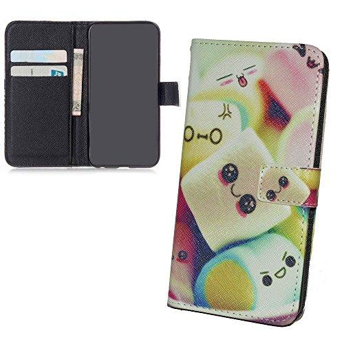 König-Shop - Handyhülle Schutz Tasche Case Cover Wallet Kunstleder 360 Grad Standfunktion, Farbe:Smile, Größe:Apple iPhone 6 / 6s Plus Marshmallows
