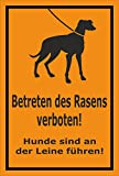 Schild - Betreten des Rasens verboten - Hunde sind an der Leine zu führen – 15x10cm | stabile 3mm starke Aluminiumverbundplatte – S00216-007-E +++ in 15 Varianten erhältlich