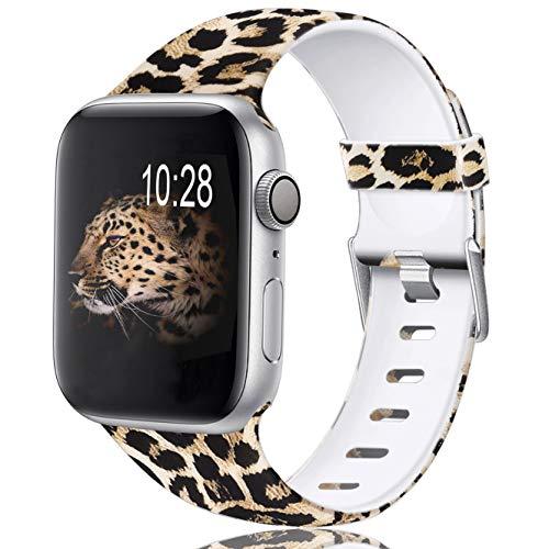 Zekapu Armband Kompatibel mit Apple Watch 38mm 42mm 40mm 44mm für Frau Männer, Dauerhaft Wasserdicht Muster Gedruckt Silikon Ersatz Band für iWatch 38mm 42mm 40mm 44mm, Leopard