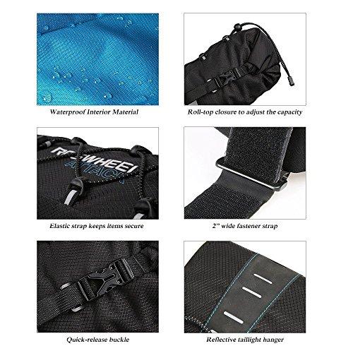 ROSWHEEL reißfestes Polyester Fahrrad Satteltasche unter Rückseite Sitz Tasche mit einrollbarer öffnen und reflektierendes Logo für Outdoor Sports Radfahren, Mountain, Bike Fahrrad Rücksitz Pack Aufbe Full Waterproof 10L