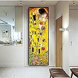 CYACC Artista Classico Gustav Klimt Bacio Pittura a Olio Astratta su Tela Stampa Poster Quadri Moderni per pareti Immagini per Soggiorno, 55x156cm_No_Frame