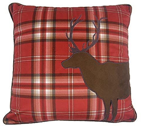 RED CHRISTMAS REINDEER HIGHLAND TARTAN SOFT VELVET EMBROIDERED CUSHION COVER 18