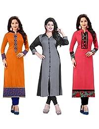 1d54c69697 Morpich Fashion Set Of 3 Women's A-Line Cotton Printed Semi Stiched Kurti  Materials (