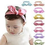 EROSPA® Baby Kleinkind Haarband Stirnband mit Schleife und Knoten elastisch Bowknot Fotografie Taufe Geschenk Schmuck 8 verschiedene Farben Unisex (Pink/Weiß gepunktet #3)