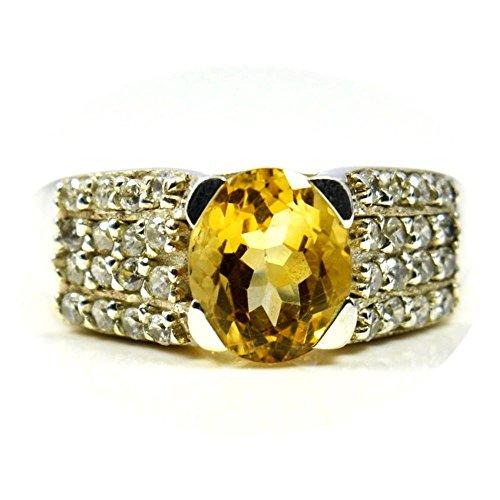 caratyogi Natürliche Oval Form Citrin Ring Sterling Silber mit CZ Steinen Größe Fernmeldeleitung für Herren - 53 (16.9) Natürlichen Citrin Ring