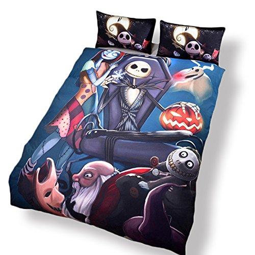Nightmare Christmas Bettwäsche Geschenk Home Einzigartiges Design Bettbezug und Kissenbezüge Set (Dreiteiliger Set) Mädchen Twin Bettdecke