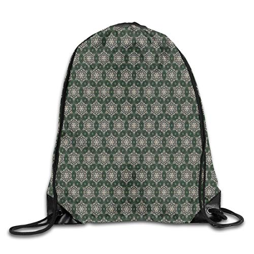 kpacks Bags Daypacks,Abstract Floral Motifs Mosaic Tile Pattern with Leaf Ornaments Old Fashioned,5 Liter Capacity Adjustable for Sport Gym Traveling ()
