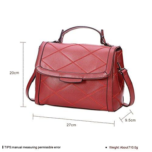 Ladies fashion linea piccola borsa satchel Tinta unita-Rosso Rosso