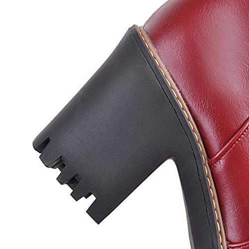 AgooLar Femme Matière Mélangee Haut Bas Couleur Unie Zip à Talon Haut Bottes Rouge Vineux