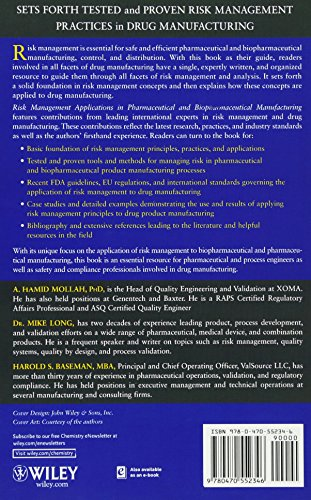 Risk Management Applications in Pharmaceutical and Biopharmaceutical Manufacturing (Wiley Series in Biotechnology and Bioengineering)