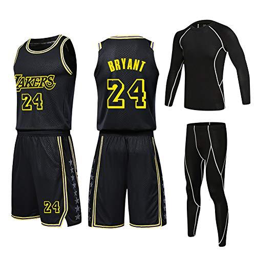 Herren Basketball Jersey # 24 Kobe Bryant Lakers Basketball Uniform 4-teiliger Anzug Herren Bottom Game Custom Strumpfhosen Trainingsanzug Bestickte Stoff Trikots 2XS-5XL Famliy-b