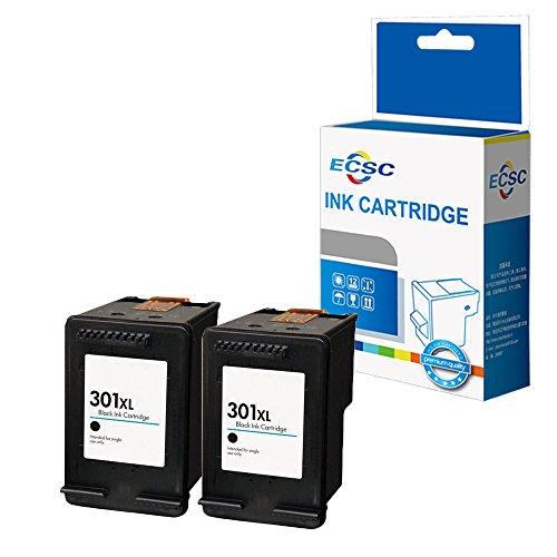 ECSC Remanufactured Tinte Patrone Ersatz für HP Deskjet 1000 1010 1050 1050A All-in-One 1510 1512 1514 2050 2050A 2050s 2510 2512 2540 2542 2544 2549 3000 3050 3050A 3055A 301XLBK (BK, 2-Pack)