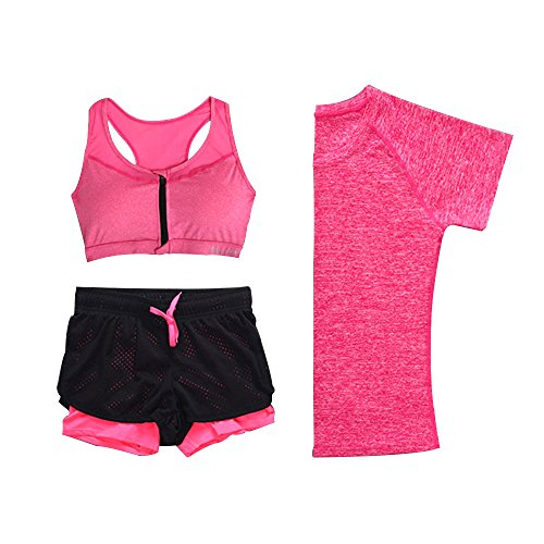 WILLIAM & KATE Sports Yoga Set Femmes Running Gym Vitesse Séchage Professionnel Vêtements de Sport 3 Pièces - T-Shirt et Soutien-Gorge et Shorts de Sport Rose