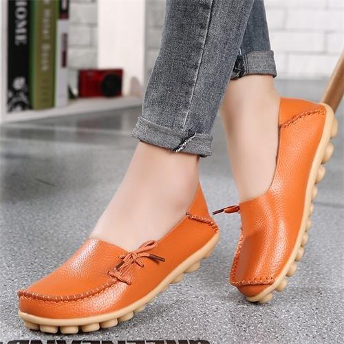 LEIT YFF Chaussures Femmes en Cuir Véritable et Appartements à Enfiler Décontractées Flâneurs Confort Orange