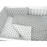 10-teiliges Kinderbett-Set mit Bettwäsche/Bettbezug und Füllung/Sicherheitspolster/Betthimmel und Stange
