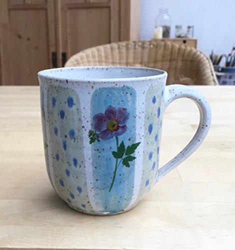 Kaffeebecher-480ml-türkis/grün mit Anemonen, getöpfert