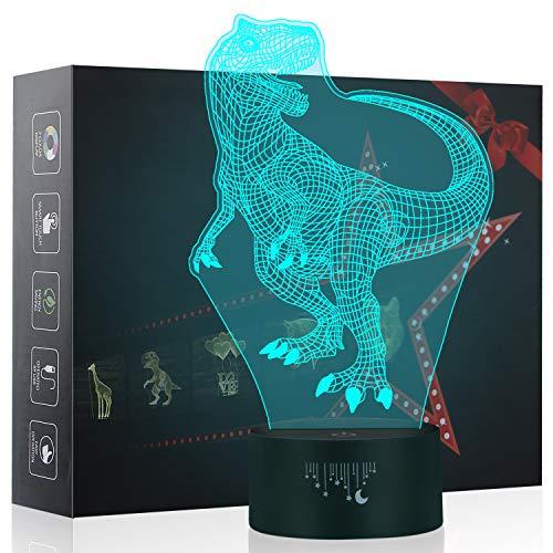 3D Nachtlicht, Tyrannosaurus Rex LED Lampe, Baby Schlafzimmer Schlaf Lichter, 7 Farben Touch Tischleuchte, Dinosaurier Spielzeug das Beste Weihnachtsgeschenk für Kinder -