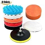 Esponja Pulir para Coche, 8Pcs 6 Inch Kit de esponja de pulido con adaptador de taladro y almohadillas de cera de lana, juego de almohadillas de pulir para coche, pulidor y depilación
