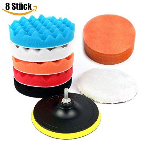 NBODY 8 Stück 150mm (6 Inchs) Polierset Polierschwamm Set Poliermaschine Schwamm Auto polieren für Sauber machen Lackpflege Poliermaschinen