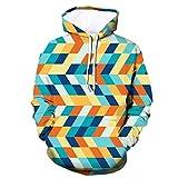 Xmiral Herren Slim Fit Hoodie Lange Ärmel Kapuzenpullover 3D Druck Farbig Sweatshirt Pullover Hooded Streetwear Hemden Strickwaren(i Hellblau,M)