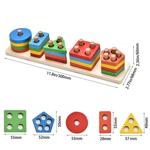 KanCai Wooden Educational Toddler Toys Geometric Shapes Block Board Stack Sort Chunky Puzzle