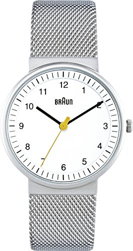 Braun Women's Three Hand Movement Quartz Watch with White Dial and Stainless Steel Mesh Bracelet BN0031WHSLMHL