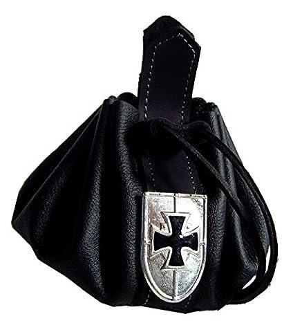 Lederbeutel Dukatenbeutel Geldkatze Farbe schwarz Ritter Schild (Ritterschild Kostüm)
