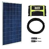 WATTSTUNDE® 100W Solaranlage Solar Bausatz Set für Wohnmobil und Garten PV 100 Watt Solarmodul und Laderegler