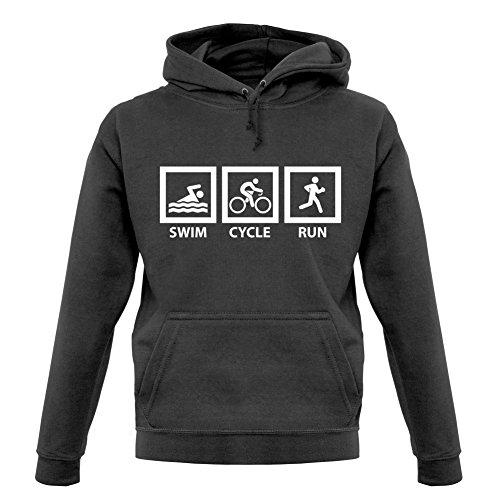 Dressdown Swim Cycle Run - Unisex Hoodie/Kapuzenpullover - Graphit - L (Triathlon Hoodie)