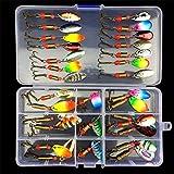 BrilliantDay 31Pcs Artificiale Pesca Richiamo Set Morbido Esca Attrezzatura di Pesca Esca da Pesca Metallo Fishing Lure Cucchiaio Pesca d'Esca