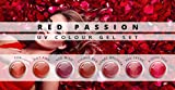 N&BF 7er Farbgel Set Red Passion | 7x5 ml UV Color Gel Sparset | Colourgel in sieben verschiedenen Rot-Tönen | Made in EU | Sparpaket für Gelnägel & Nail Art Design | Profi Nagelgel bunt