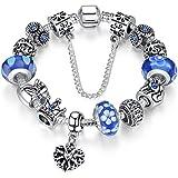 """A TE® Bracciale Charms """"Fiore"""" Vetro beads queen Catena Sicurezza Regalo Donna #JW-B110"""