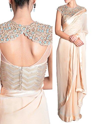 Sarees ( Cream Color Lycra Silk Georgette Fabric Multiwork Saree, New Arrival...