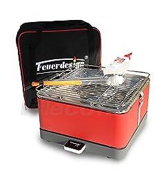 Holzkohle Tischgrill TEIDE - Rauchfrei - v. Feuerdesign - Rot, im Spar Pack mit Grill-Zubehör