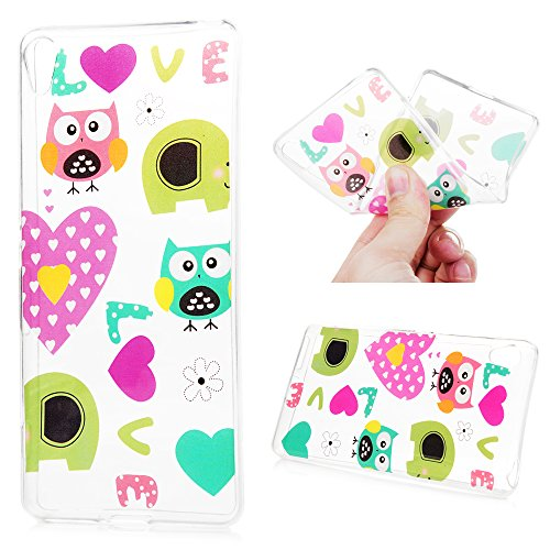 Sony Xperia XA Case Lovely Cartoon Owl Cute Pink Love Hearts Transparent Soft Flexible TPU Bumper Gel Cover Slim Fit Thin Shell Drop Scratch Shock Protection Skin