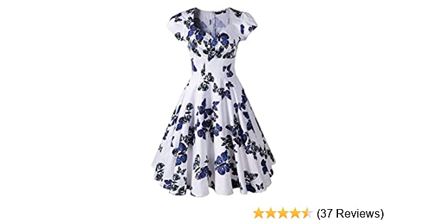 Penelope Vintage 1950s Style Floral Rose Pattern Swing Circle Party Dress (US16/UK20, Butterfly&White): Amazon.co.uk: Clothing