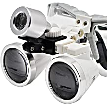 Denshine Kit Médico Quirúrgico Dental Gafas Lupas Binoculares 2.5×320MM(Plata)