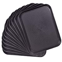 12-pack Fast Food Cafeteria Tray | Twelve 14 x 18 Rectangular Textured Plastic Food Serving TV Tray Multipack | School Lunch, Diner, Commercial Kitchen Restaurant Equipment Black