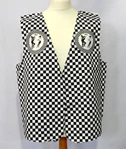 SKA DESIGN WAISTCOAT FUN & FANCY FOR ALL OCCASIONS FESTIVAL PARTIES SMALL,MEDIUM,LARGE,XLARGE SIZES AVAILABLE (SMALL 36-38-40)